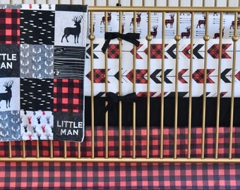 Little Man Deer Crib Bedding, Lumberjack bedding, woodland nursery, red buffalo plaid, red and black , quilt, bumpers, deer, skirt