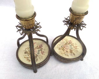 "Petit Point Filigree Brass Candlestick Holders, Circa 1940, Aged Darkened Brass 5"" x 3.5"""
