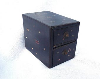 "FREE SHIPPING Antique Handmade Chinese Chest of Drawers, Black Wooden Keepsake Box, Artist Signed, Jewellery Box, 4.75"" x 3.75"" x 3.25"""