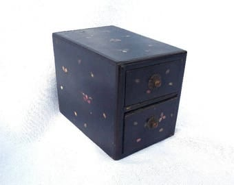 "Antique Handmade Chinese Chest of Drawers, Black Wooden Keepsake Box, Artist Signed, Jewellery Box, 4.75"" x 3.75"" x 3.25"""