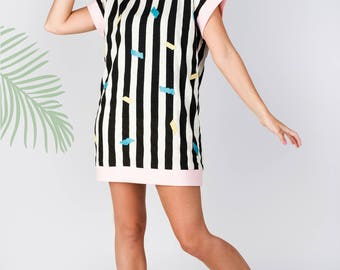 black&white striped tunic