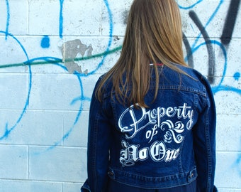 Harley Quinn Suicide Squad Property of No One Hand-Painted Denim Jacket