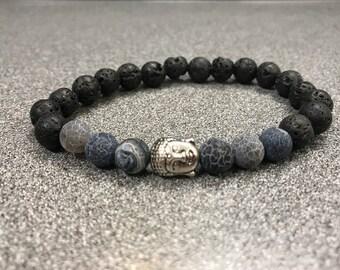 Men's Lava Stone Agate Buddha Bracelet