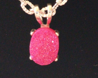 Pink Druzy Quartz Necklace