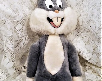 """Bugs Bunny Plush Character, Vintage 1992, Mighty Star, Bendable Ears, 21"""" tall"""