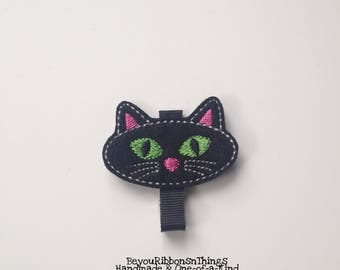 Black Cat | Hair Clips for Girls | Toddler Barrette | Baby hair Clips | Kids Hair Accessories | No Slip Grip | Felties | Halloween