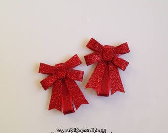 Glitter | Red Bows | Hair Clips for Girls | Toddler Barrette | Baby Hair Clips | Kids Hair Accessories | No Slip Grip | Christmas