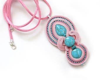 SALE powder pink turquoise necklace soutache colorful OOAK statement necklace Soutache stone pendant pastel necklace pale pink light pink