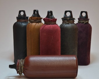 Water bottle 700ml covered with leather / recycled leather / LARP / LARP /.