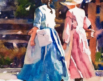 Watercolor Print, Watercolor Painting, Painting of Two Women, Pioneer Painting, Women in Dresses, Casual Converstation
