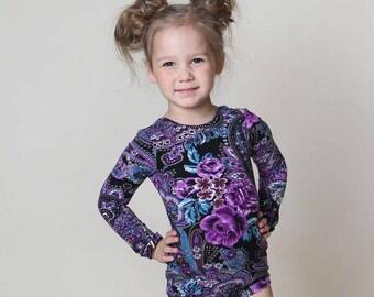Purple Paisley Leotard, Girls Leotard, Floral Bodysuit, Baby Leotard, Toddler Leo, Dance Leotard, Gymnastics Leotard, Leotards for Girls