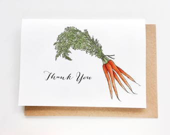 Thank You Card - Carrot | Vegetable Collection, Card for guests, Danke dir Karte, Carte de merci, Tarjetas de Gracias