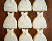 One Dozen - Wedding Dress Cookies - Bachelorette Bridal Shower Favor - Bride and Groom Cookie