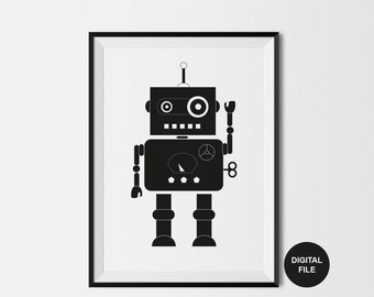 Robot Print, Instant Digital Download, A4/ A3 Sizes, Kids Printable Poster, Black & White Kids Art, Boys Bedroom Poster, Monochrome Nursery