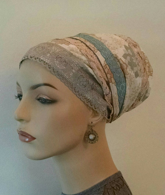 Lightweight cotton voile with lace accents sinar tichel, tichels, hair snoods, chemo scarves, head scarves