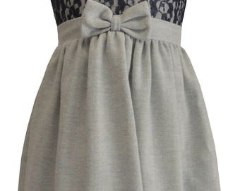 Light Blue Wool Dress with Navy Blue Lace Top Size 6 Only
