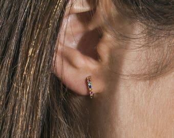 Tiny gold hoops - sapphire hoop earrings - minimal ruby hoops - dainty emerald hoops - small hoop earrings - dainty huggie earrings - hoops