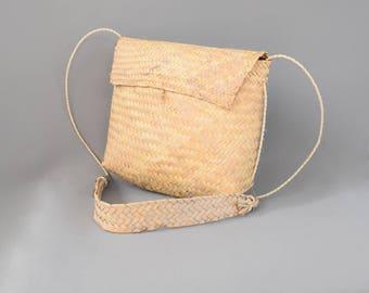 Vintage Handwoven Palm Fiber Messenger Basket Bag