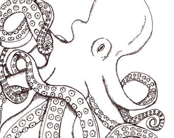 Octopus Ink Drawing Print