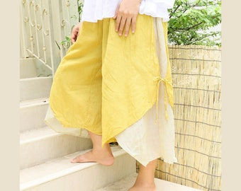 Women Summer Wide Leg Pants, Comfy Casual Double Layer Loose Cotton Baggy Pants with Elastic Waist in Yellow