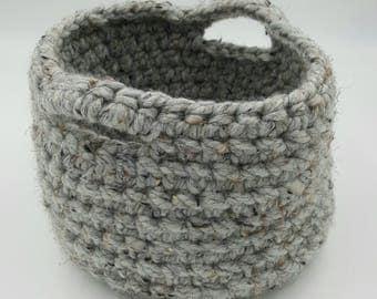 Crocheted Basket, Chunky Crocheted Basket, Storage Basket, Decorative Basket, Organizer Basket, Grey Basket, Crocheted Bowl, Crocheted Bin