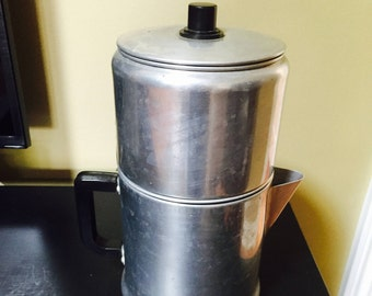 9 Cup Percolater Stove Top Coffee Pot Vintage