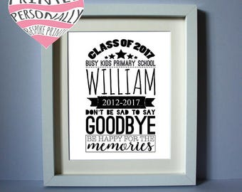 Personalised class of 2017 print - Personalised print - School graduation - End of nursery - End of term gift