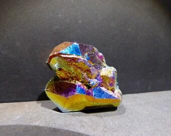 Rainbow Aura Titanium Crystal Cluster, 2'' inches, iridescent, colorful, rainbow, metaphysical, Quartz Cluster, coated