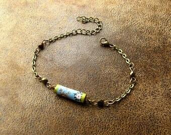 Boho bracelet * unique * ~ paper jewelry ~ handmade Lampwork beads ~ Pearl paper ~ Paper Jewellery ~ Paper bead ~ Bohemian jewelry