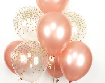 ROSE GOLD Mini Balloon Bouquet - Mix of 8 Latex Balloons in Rose Gold and Confetti-Printed Balloons - Rose Gold Balloons, Confetti Balloons