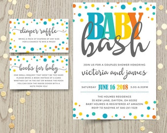 Baby bash couples co-ed baby shower invitation card, baby boy shower invite, gender neutral, customized personalized printable, DIGITAL