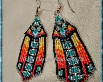 Desert Heat Unchained - Brick Stitch Earrings Beading Pattern