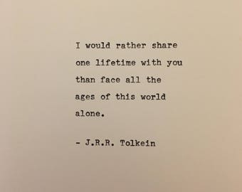 JRR Tolkein love quote hand typed on antique typewriter gift boyfriend husband wife wedding present birthday valentines scrapbooking