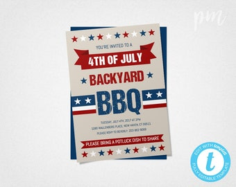 4th of July Invitation, 4th of July BBQ, Fourth of July Party Invitation, Fourth of July Invitation, Barbecue Invitation