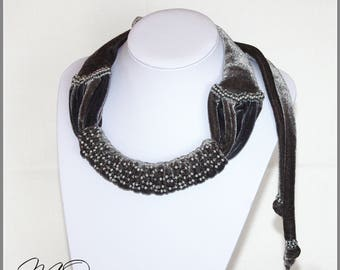 The only one, gray, hand made, multifunctional, stretch velvet accessorie