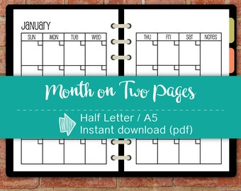 "Undated Month on 2 pages, Start Sunday, Half Letter size 5.5""x8.5"", Monthly inserts, Instant download #half002"
