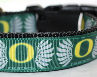 """University of Oregon Dog Collar - Side Release Buckle (1"""" Width) Martingale Option Available"""
