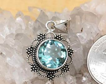 Beautiful Blue Topaz Pendant Necklace
