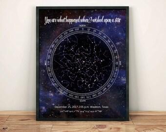 Sky Map Custom, Night Sky Custom Print, Night Sky Map Custom, Star Map Custom, Star Map By Date, Constellation Print, Birthday Gift