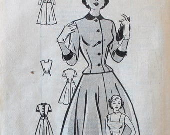 Vintage Sewing Pattern - Uncut 1950s Dress Pattern - Anne Adams 4566