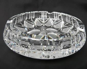 Vintage Cut Glass Crystal Ashtray Etched Glass Ashtray Etched Pear Fruit Ashtray Coffee Table Ashtray Crystal Cigarette Cigar Ashtray