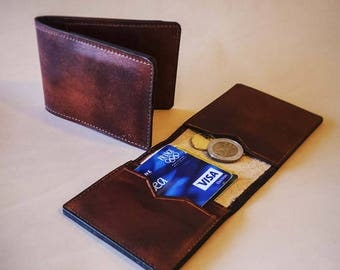 Wallet card, worn brown leather coin. Option initial name.