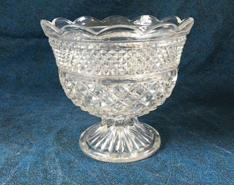 Anchor Hocking Large Footed Clear Glass Compote, Wexford Compote, Mid Century Compote