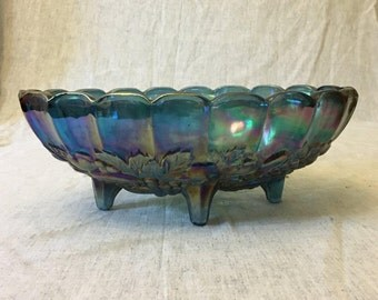 Vintage Indiana Glass Iridescent Blue Carnival Glass Oval Garland Fruit Bowl
