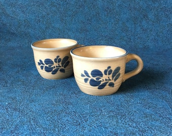 Vintage Pfaltzgraff Folk Art Coffee Cups, Set of 2