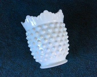 Vintage Fenton Hobnail Milk Glass Sugar Bowl