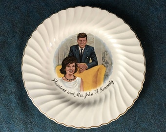 Vintage JFK and First Lady Presidential Decorative Plate, John F Kennedy, Sheffield USA