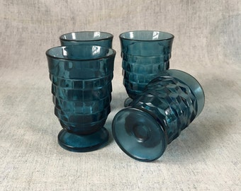 Vintage Indiana Glass Riviera Blue Colony Whitehall Juice Glasses, Set of 4, Teal Drinking Glasses