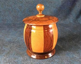 Vintage Inlaid Wood Condiment or Jam Jar, Mid Century Modern