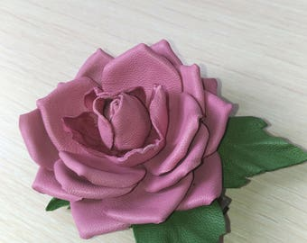 Pink Leather  Rose Flower Hair clip, pink flower Clip, pink rose hair clip, hair flower, leather flower, pink rose for hair,